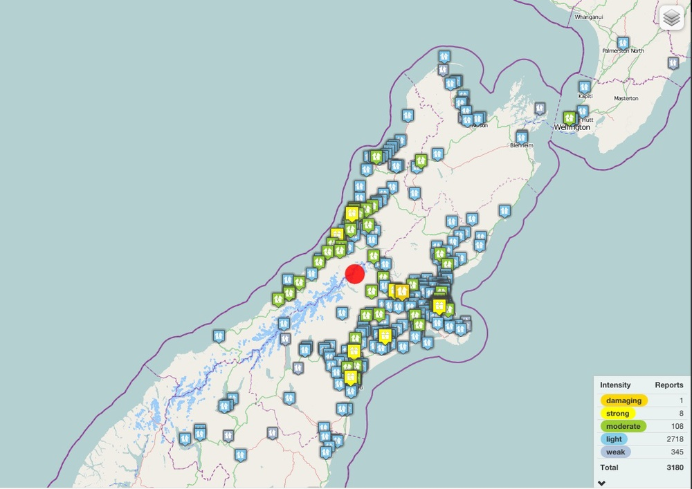 GeoNet's crowdsourced map of the 6.0-magnitude earthquake that struck New Zealand on January 7. Source: GeoNet