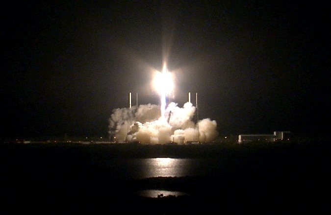 The SpaceX Falcon 9 lifting off early in theFlorida morning with the Dragon resupply module. In addition to food and professional research, it also carried experiments built by middle and high school students. Source:  Nasa