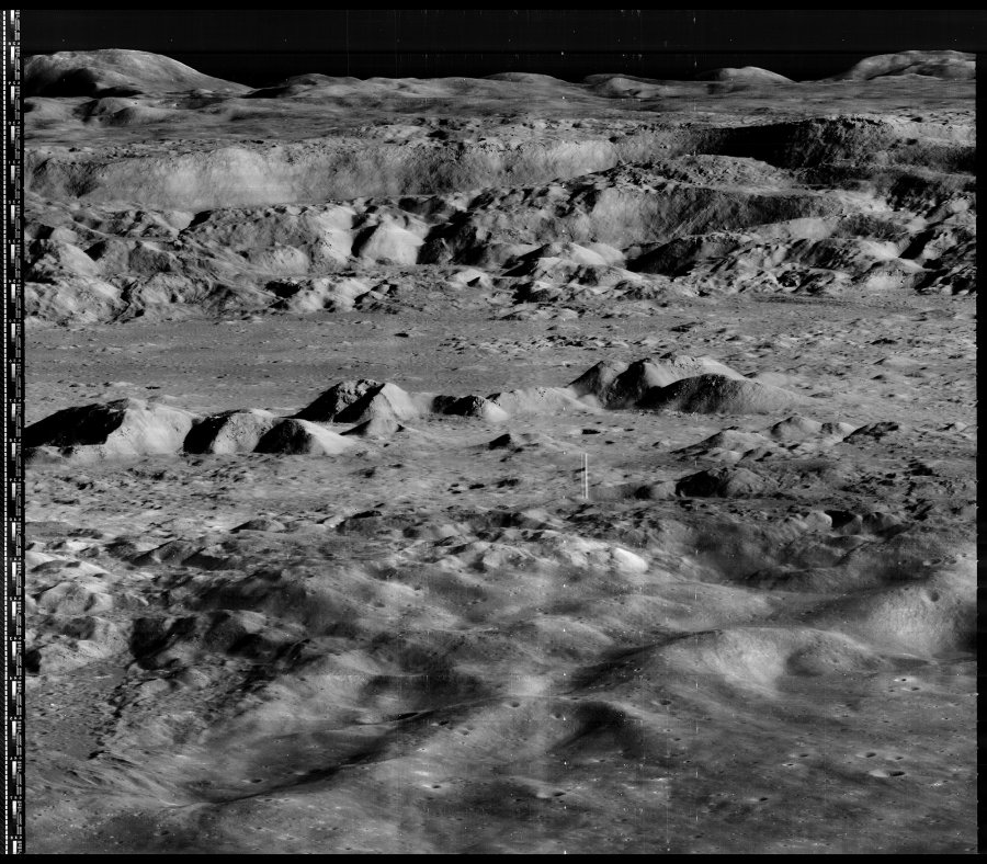 Lunar Orbiter 2's view of Copernicus Crater. Apollo 12 landed south of the crater to search for debris from the giant impact.  Source:  Nasa/LOIRP
