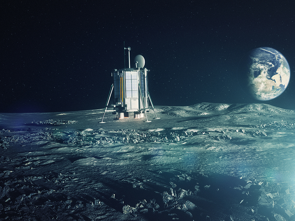 Early concept art of the Lunar Mission One craft landing on the Moon. (The Earth appears upside down from the lunar south pole) Source: Lunar Mission One