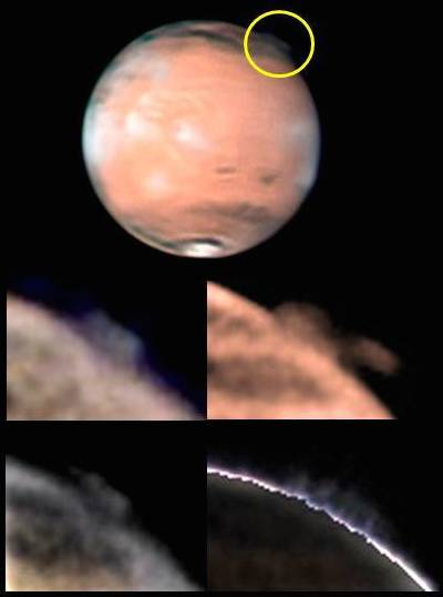 The lower images taken by amateur astronomers in 2012 show the changing shape of a plume high in the Martian atmosphere.  Credit: W. Jaeschke and D. Parker Source: Esa