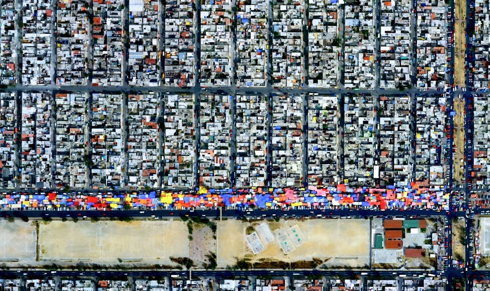 A tianguis, or open-air market, in Mexico City. This is just one of the images the Daily Overview distributes to show civilization's presence on Earth. Source: Daily Overview
