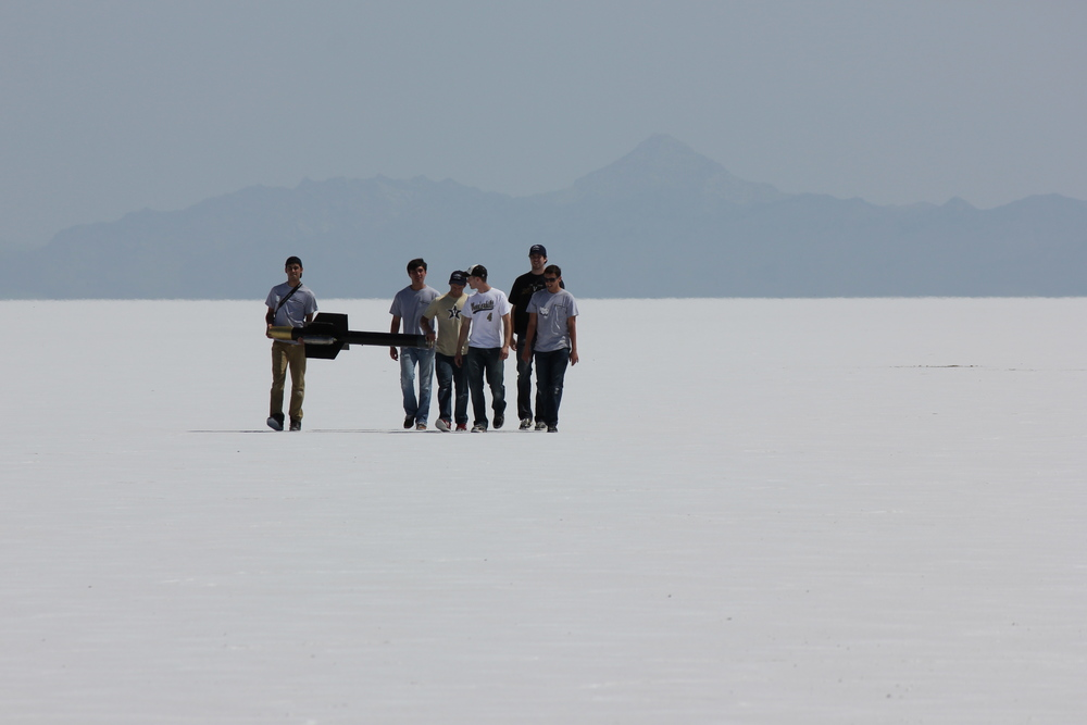 Recovering the winning rocket at the Bonneville Salt Flats. Nasa's budget limited last year's Student Launch program to universities, but high school students are returning for the 2015 Student Launch.  Credit:  Nasa/MSFC