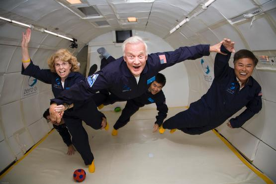 Buzz Aldrin, the 2nd man on the Moon, got a second shot at zero gravity. Tourists and scientists - and maybe soon Mars One candidates - can ride Zero G's version of the Vomit Comet Nasa uses to train its astronauts. Source: Zero G Corporation