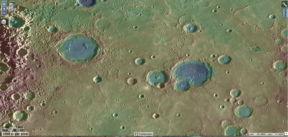 Sousa crater (upper left corner) and other impact sites on Mercury's northern hemisphere as seen in the Messenger Quickmap. Low elevations are shaded blue with higher elevations are shaded red. Source: Messenger QuickMap