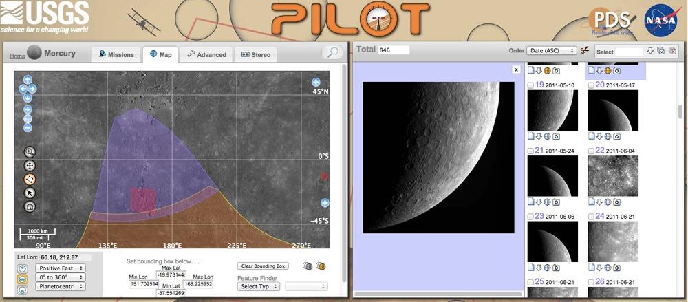 Pilot, the USGS Planetary Image Locator Tool