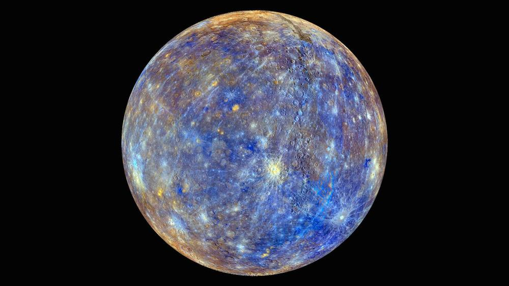 Mercury enhanced to study the first planet's geology. Credit: Nasa/Johns Hopkins University Applied Physics Laboratory/Carnegie Institution of Washington