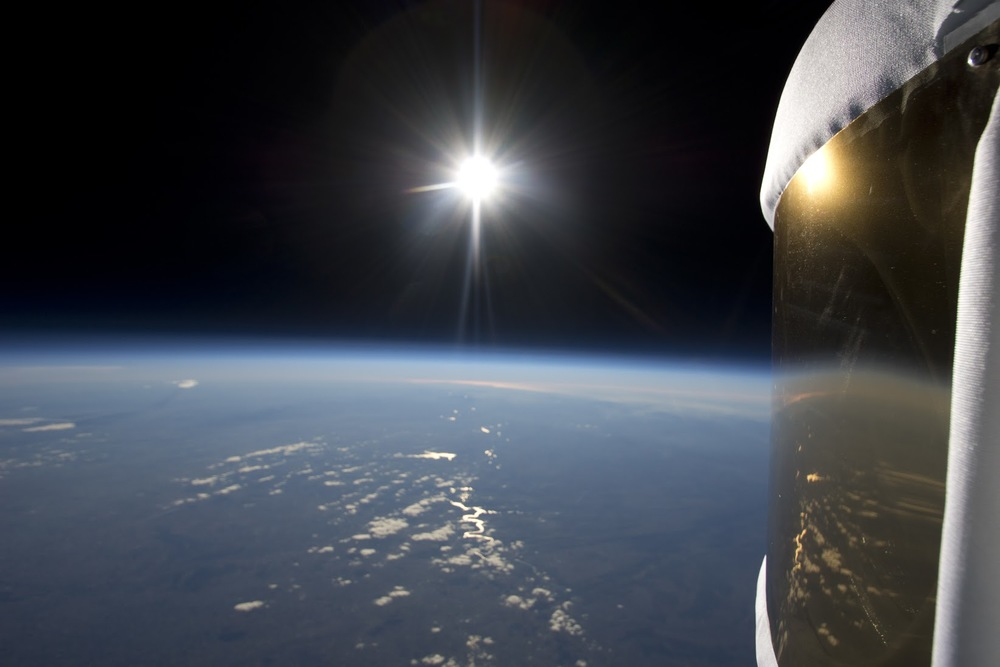 Earth, space, and Sun from a zero2infinity stratospheric test flight.  Credit:  zero2infinity