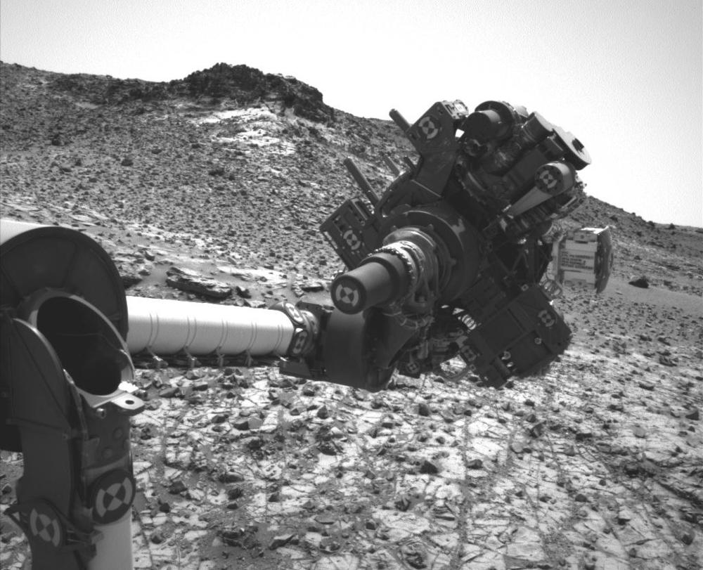 Well that's your problem! A short circuit temporarily halted Curiosity's drilling activities.  Credit:  Nasa/JPL-Caltech