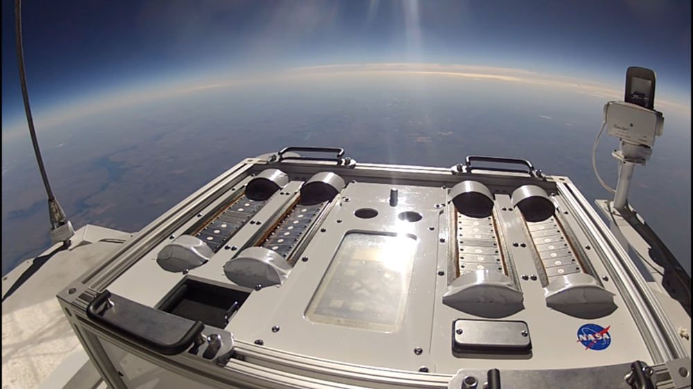 MarsBalloon lets kids do the same thing as the pros. Nasa's Exposing Microorganisms in the Stratosphere experiment looked at how well Earth's microbes survive in conditions similar to Mars. The research will help prevent contaminating the Martian environment when microbes hitch a ride on the space agency's robotic missions. Credit: Nasa/GoPro