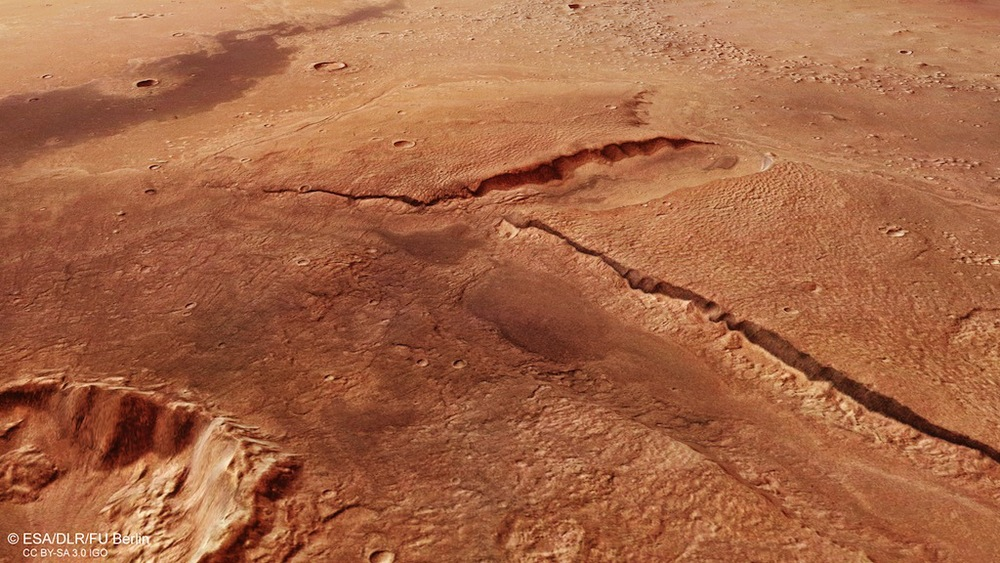 A perspective view of Cydonia Mensae from Esa's Mars Express orbiter. This may have been a coastal region if theories about Mars' ancient oceans are correct. Credit: Esa/DLR/FU Berlin, CC BY-SA 3.0 IGO