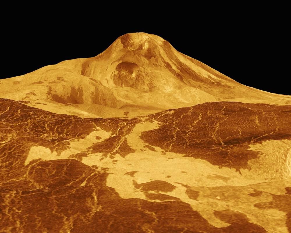 The Jet Propulsion Laboratory used radar data from the Magellan spacecraft to create this perspective view of 8-kilometer high Maat Mons, the largest volcano on Venus. The vertical scale has been exaggerated to details easier to see. The original monochrome data was colorized yellow to match images from the Venera missions. Credit: Nasa/JPL-Caltech