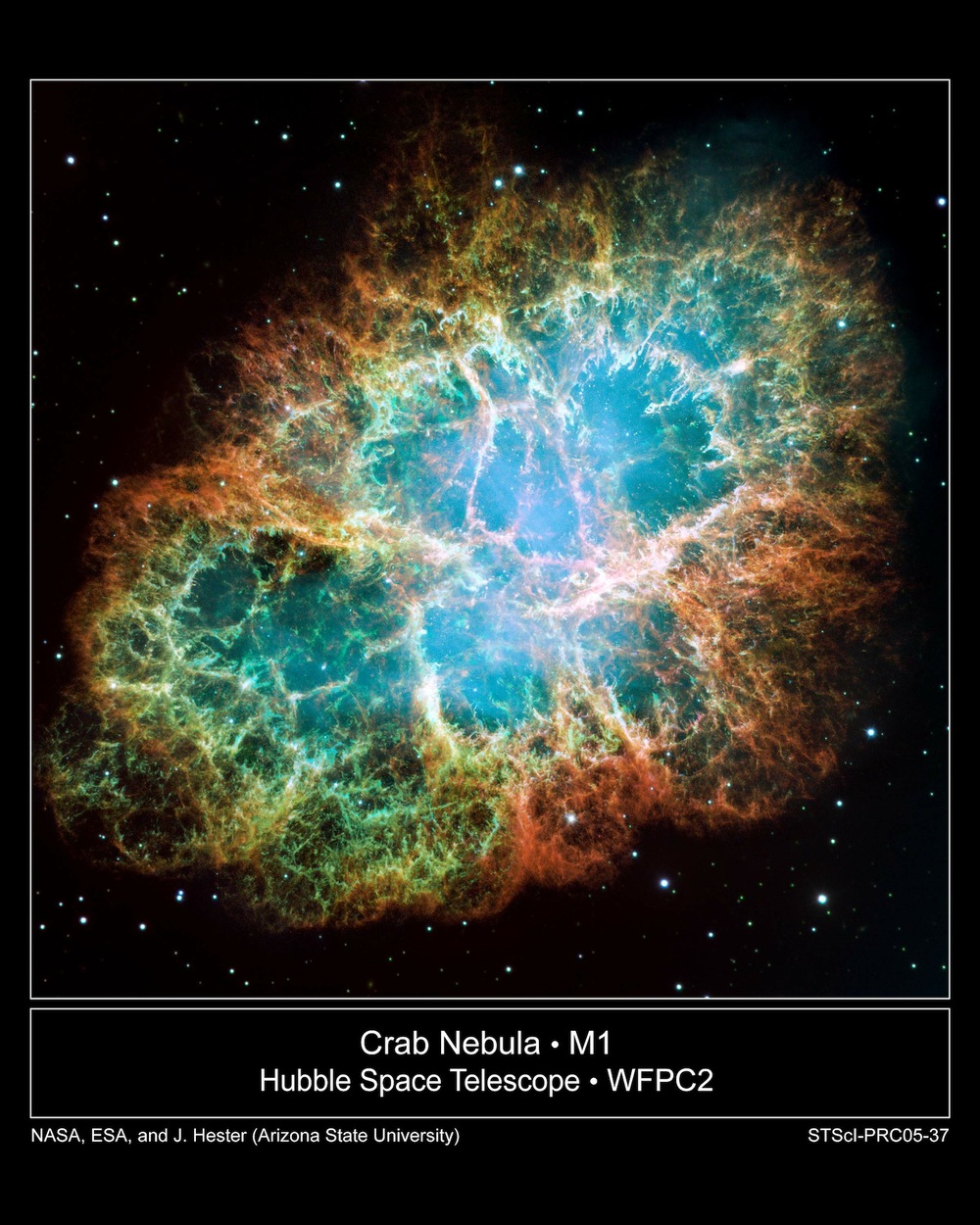 One of two fates await an aging star as its fusion reactions fizzle out. Most stars, including the Sun, become white dwarfs and slowly radiate their residual heat way like the dying embers of a campfire. The most massive stars, however, go out with a bang. Without the pressure from a giant star's internal fusion reaction, its core collapses under its own mass as gravity crushes it form a neutron star. The sudden release of energy blasts the star's outer layers away in an explosion so powerful that it shines with a light billions of times brighter than the original star.  Credit:  Nasa, Esa, J. Hester and A. Loll (Arizona State University)