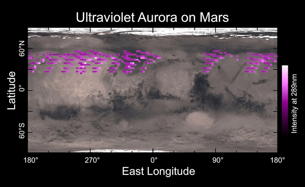This map presented at the Lunar and Planetary Science Conference last week shows the aurora-emitted ultraviolet light that Nasa's Maven orbiter detected. Credit: University of Colorado