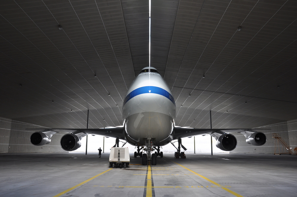 Nasa's Sofia is an infrared observatory cleverly disguised as a Boeing 747. The Universe will never see it coming!  Credit:  Nasa/Jeff Doughty