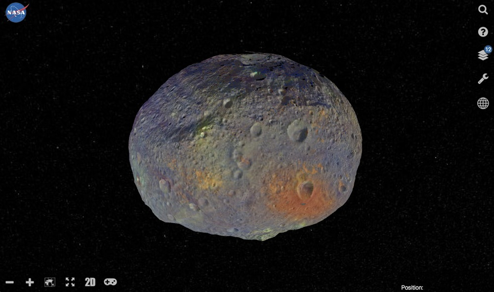 Nasa's new Vesta Trek lets you explore the planetoid in your browser. View it as a map or use the 3D mode. Layers let you add other data from the Dawn spacecraft.  Credit:  Nasa/JPL-Caltech