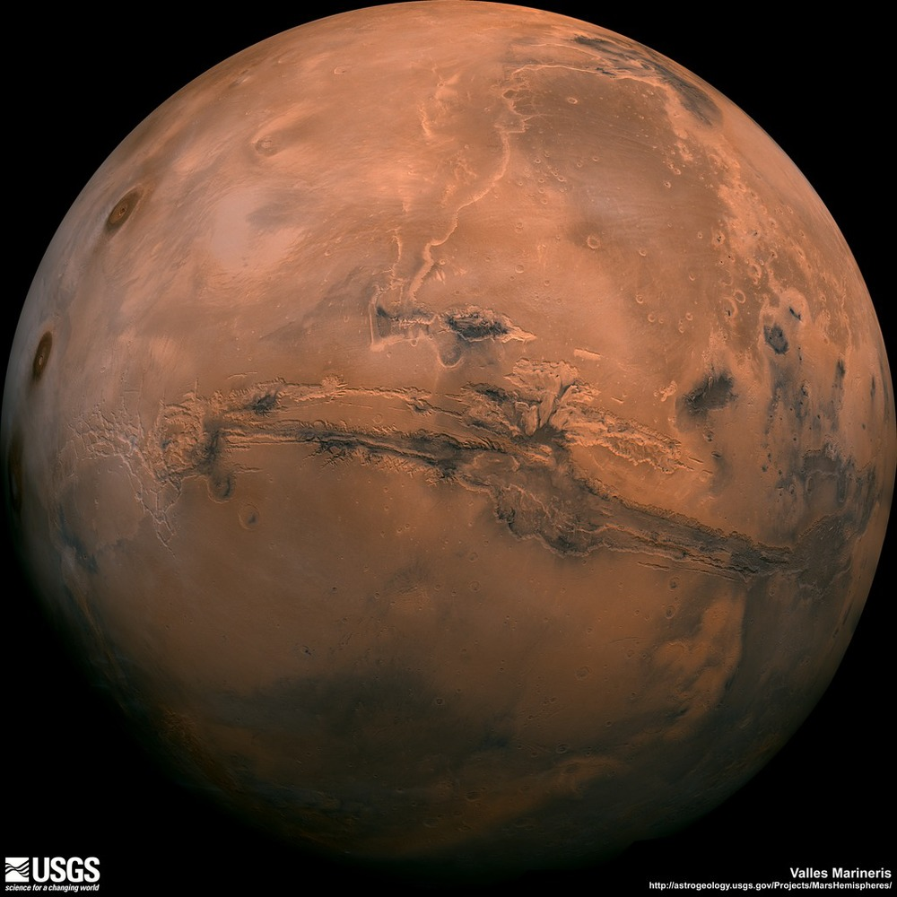 The USGS mapped Viking Orbiter images of the Valle Marineris to create this image of the red planet.  Credit:  Nasa/USGS