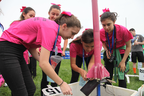 Team Pink prepared their entry in last year's Team America Rocketry Challenge. This year almost one third of the Tarc participants are female, including seven all-girl teams. Source: AIAA
