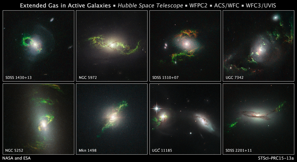 When Dutch schoolteacher Hanny van Arkel saw a glowing green blob in one of the Galaxy Zoo images, she asked in the project's forum whether anyone knew what it was. That triggered a research project that involved scientists and observatories around the world. The green blobs are filaments of gas surrounding a galaxy. The now-dormant black holes at the center of those galaxies, called Active Galactic Nucleii, once bombarded the filaments with intense radiation. The glowing ionized gas is an echo of the galaxy's distant past. Scientists use the filaments to study the history of the AGNs and the properties of their host galaxies.  Credit:  Nasa/Esa/W. Keel (University of Alabama, Tuscaloosa)