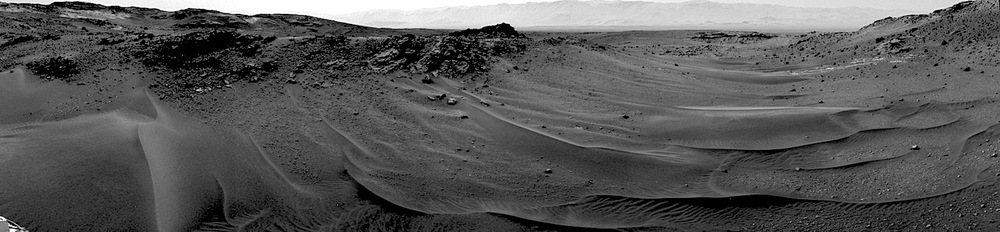The Mars Science Laboratory  Curiosity  passed the 10-kilometer mark in its journey through Gale Crater. The rover passed through this sandy valley on its way to a higher position on the slopes of Mount Sharp.  Credit:  Nasa/JPL-Caltech