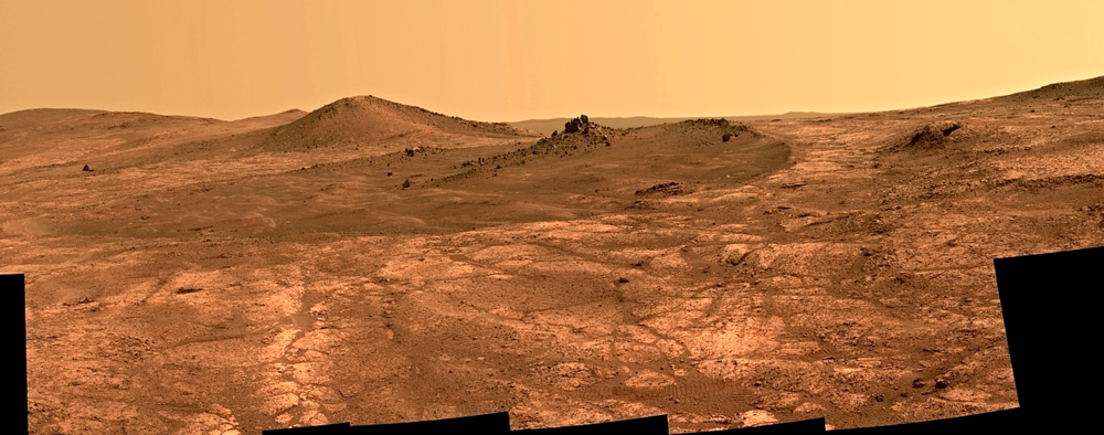 "A view of the crater ""Spirit of St. Louis"" which Opportunity explored before heading towards Marathon Valley.  Credit:  Nasa/JPL-Caltech"