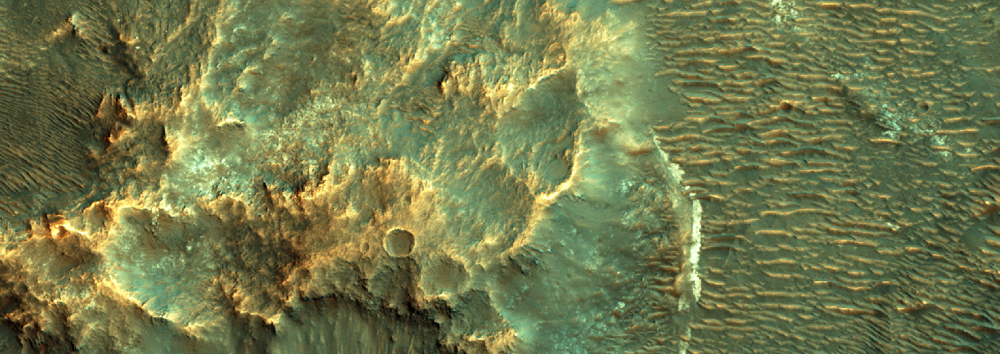This is a detail from therecently released HiRise image of Vinogradov Crater, an ancient impact site in the southern highlands.Credit: Nasa/JPL-Caltech/University of Arizona