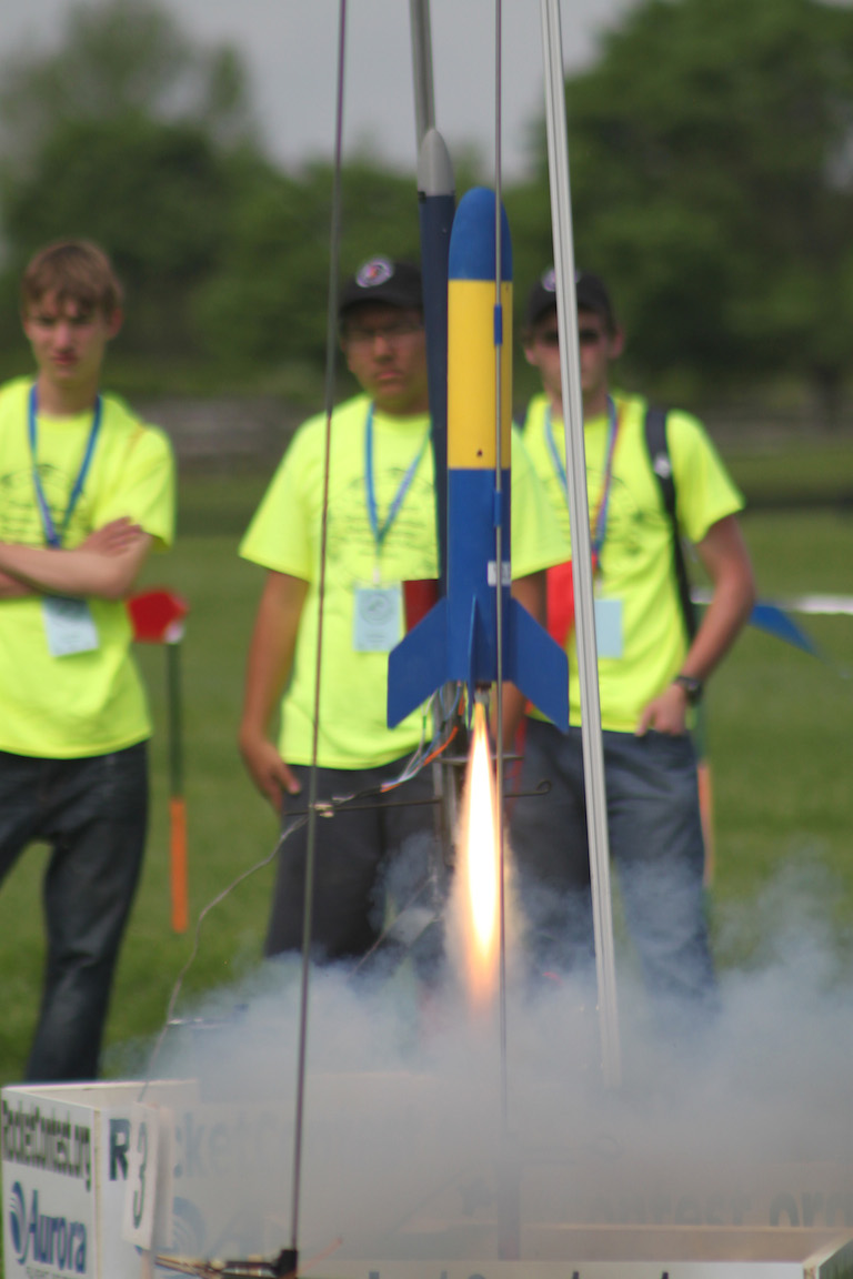 Students watching student rockets... but not too close. Credit: Team America Rocketry Challenge
