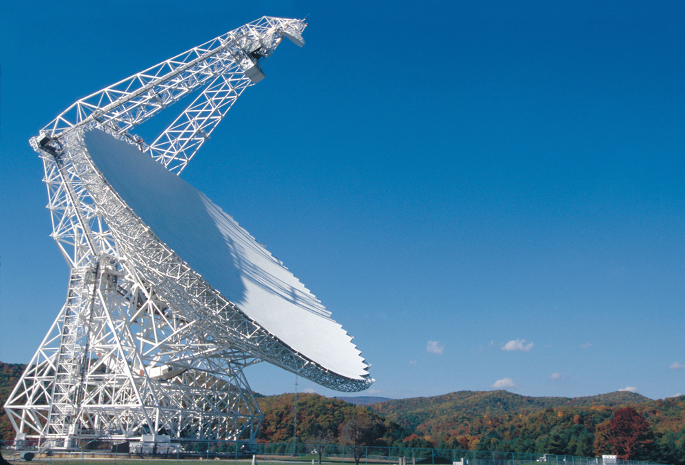 The Green Bank Telescope's 110-meter dish makes it the largest steerable radio telescope in the world. A 7,700 metric tonne support structure lets the telescope cover all but the most southern regions of the sky. Credit: NRAO/AUI/NSF