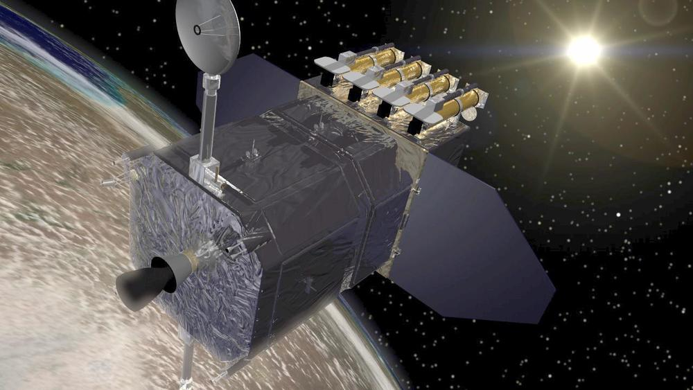 An artist's concept of the Solar Dynamics Observatory in orbit around the Earth. Credit: NASA/Goddard Space Flight Center Conceptual Image Lab