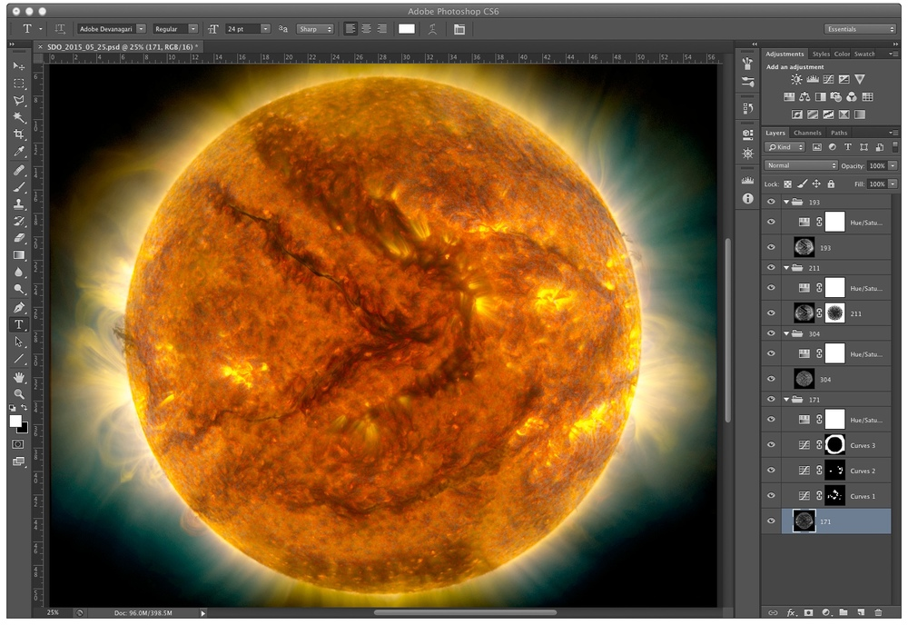 Once all of the images are stacked in Photoshop, the final image is up to you. How you colorize the layers and adjust details is entirely up to you. Credit: Chris Casper Data Courtesy of NASA/SDO and the AIA, EVE, and HMI science teams