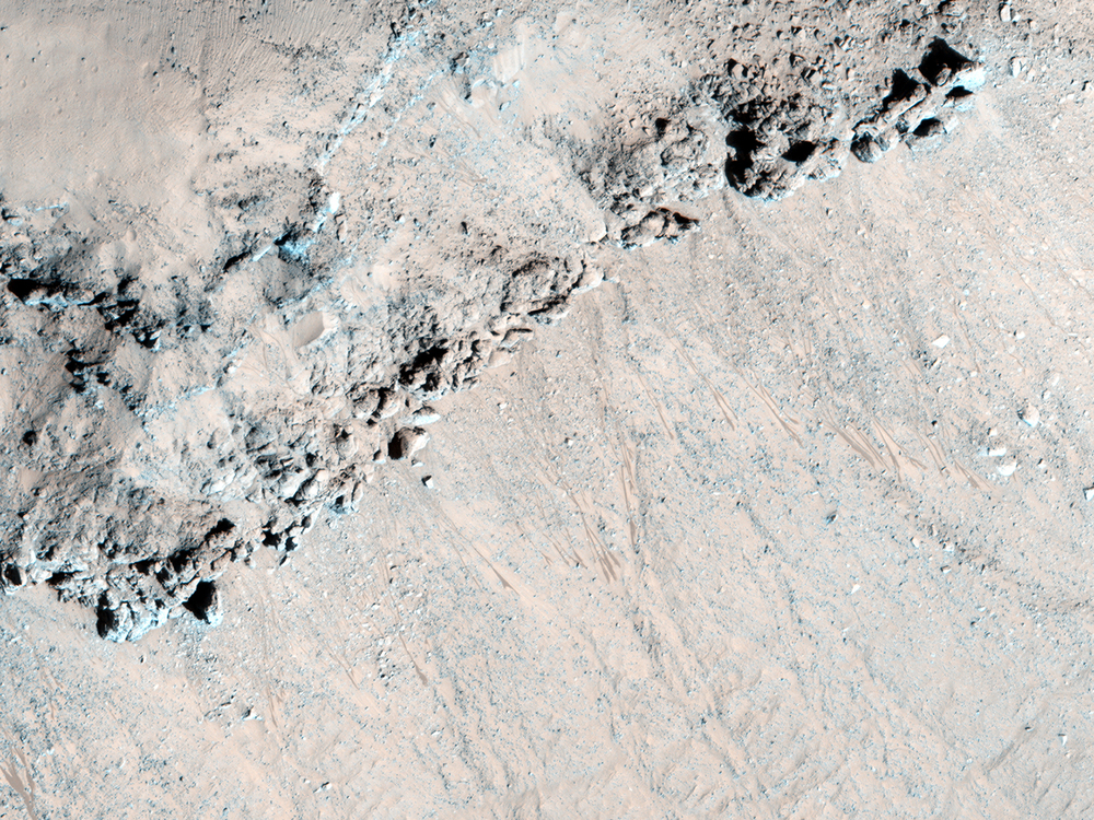 Steep slopes in this portion of Asimov Crater show signs of recurring slope lineae, seasonal phenomena that form in the summer and then disappear. Mysteriously recurring slope lineae only appear in certain locations.Credit: Nasa/JPL-Caltech/University of Arizona