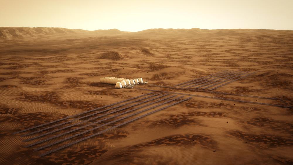 The Mars One settlement's solar farm.Credit Bryan Versteeg, Mars One