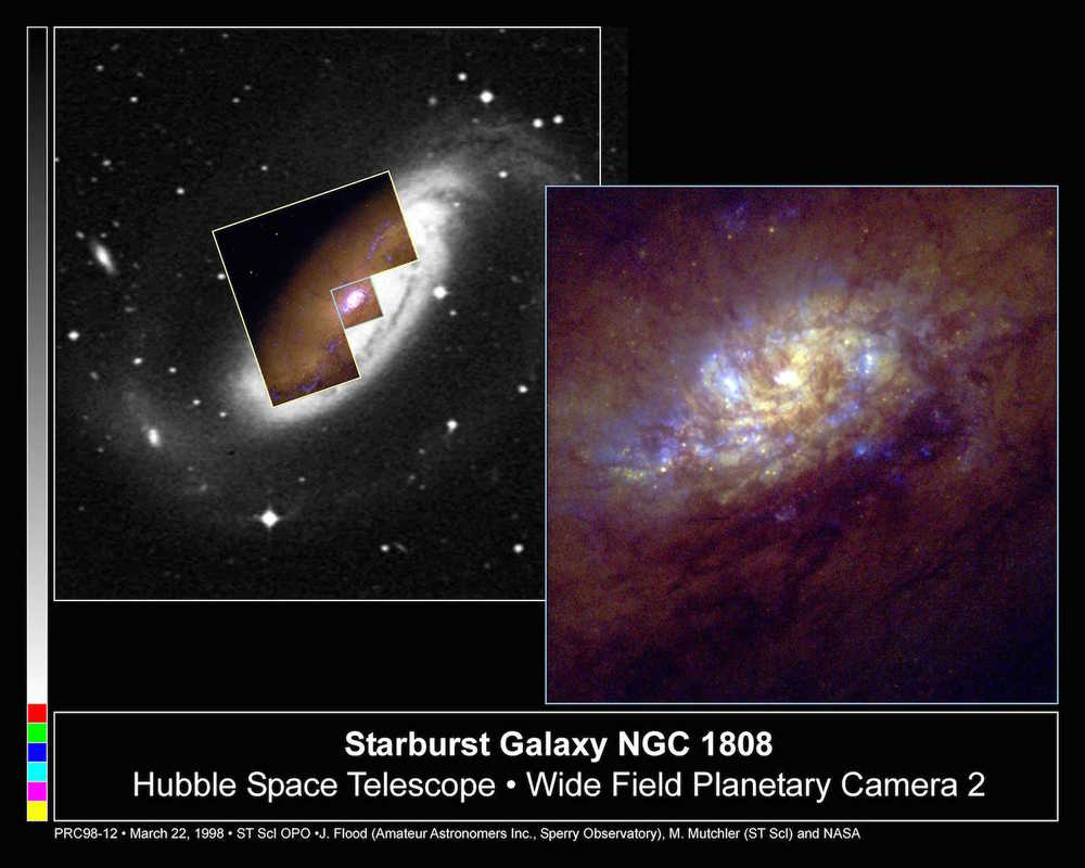 Amateur astronomer Jim Flood worked with Hubble scientist Max Mutchler to study the high rate of star birth in the spiral galaxy NGC1808.  Credit:  Nasa/J Flood/M Mutchler