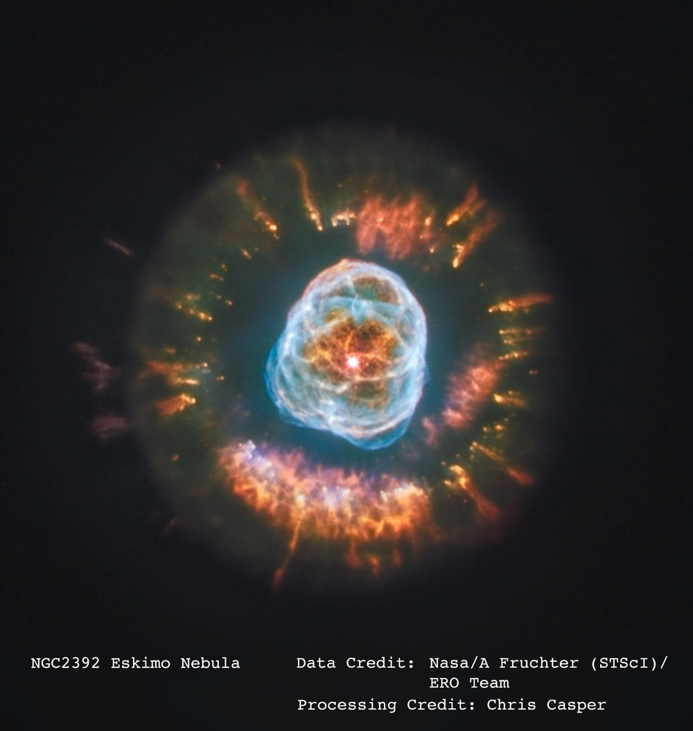 I processed this image of the Eskimo Nebula using files from the Hubble Space Telescope's public archive.