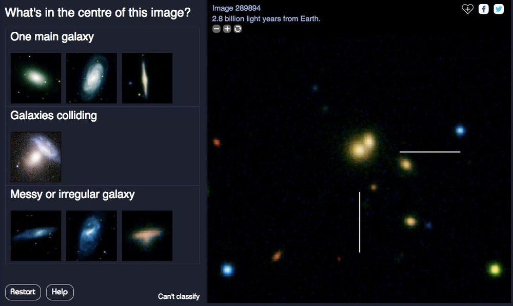 Could this be two galaxies colliding 2.8 billion years ago? I thought so, but even if I'm wrong classifications by other citizen scientists will produce the right answer.Source: Galaxy Explorer