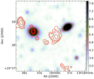 Radio Galaxy Zoo asks citizen scientists to match radio telescope data (red lines) to infrared telescope data so astronomers can study the massive black holes at galactic centers.  Source:  Radio Galaxy Zoo