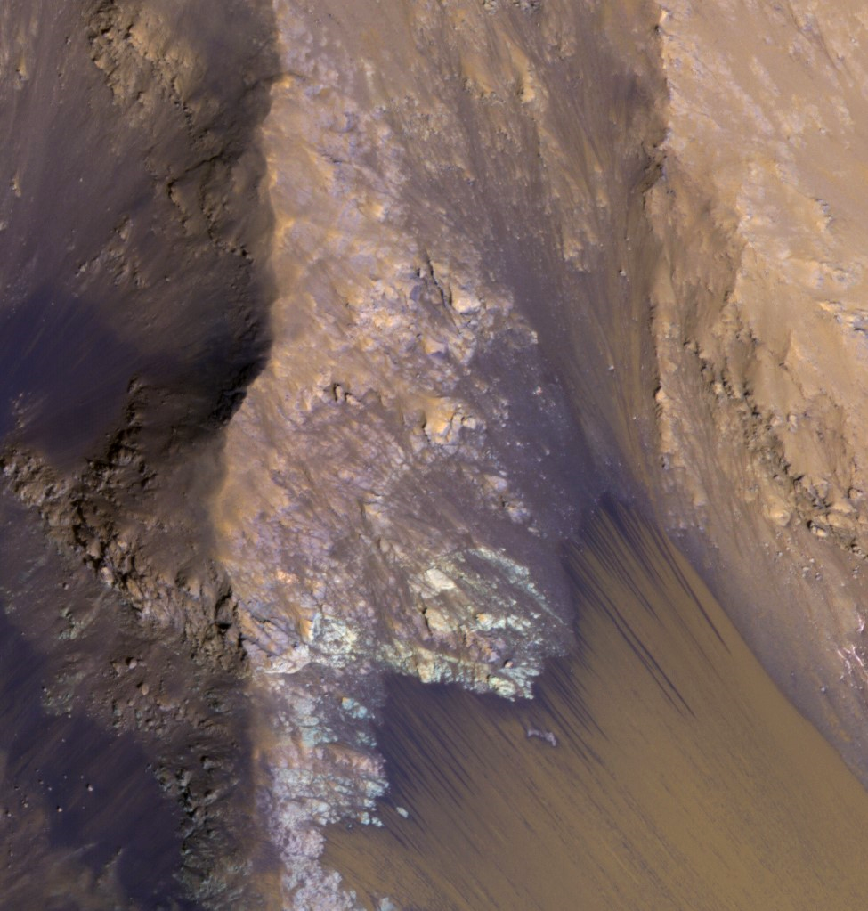 Recurring slope lineae appear every spring on the steep walls of Valles Marineris. They may be caused by subsurface water. The Mars Reconnaissance Orbiter's decade of high-resolution observations have given scientists a chance to study small-scale dynamic changes like this. Credit: Nasa/JPL-Caltech/University of Arizona