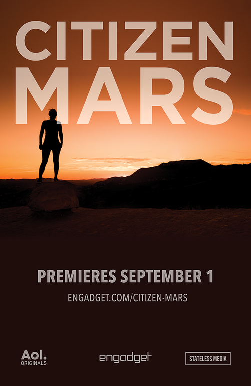 The poster for Engadget's Mars documentary. Note that the sunsets on Mars are blue, not orange.  Source:  Engadget