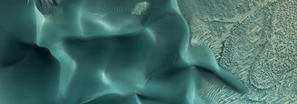The August data release from the Mars Reconnaissance Orbiter's HiRise camera includes this image US Geological Survey scientists use to monitor sand dunes on the red planet. Credit:   Nasa/JPL-Caltech/University of Arizona