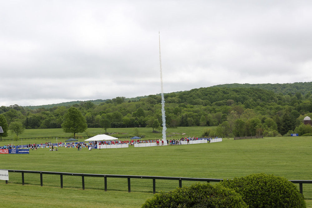 Student rocket launching above the fields of Virginia during the 2015 Team America Rocketry Challenge  Credit:  Team America Rocketry Challenge
