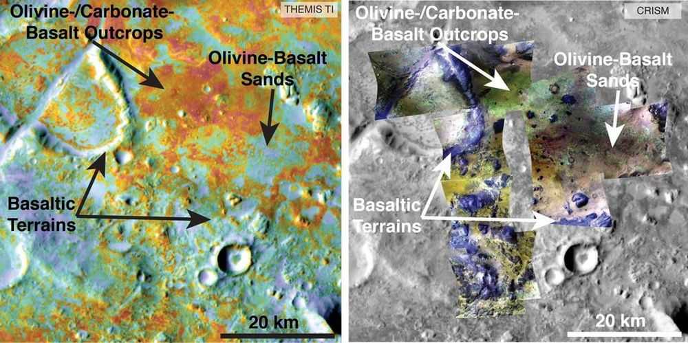 Examining the carbon content in Martian rocks from orbit let researchers estimate the Martian surface's carbon content.  Credit:  NASA/JPL-Caltech/ASU/JHUAPL