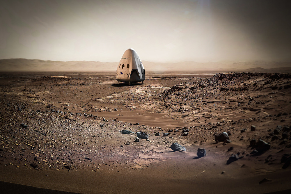 An artist's concept of the crewed SpaceX Dragon capsule on the Martian surface. Nasa researchers believe a modified robotic version could recover samples collected by the Mars2020 rover.  Credit:  SpaceX