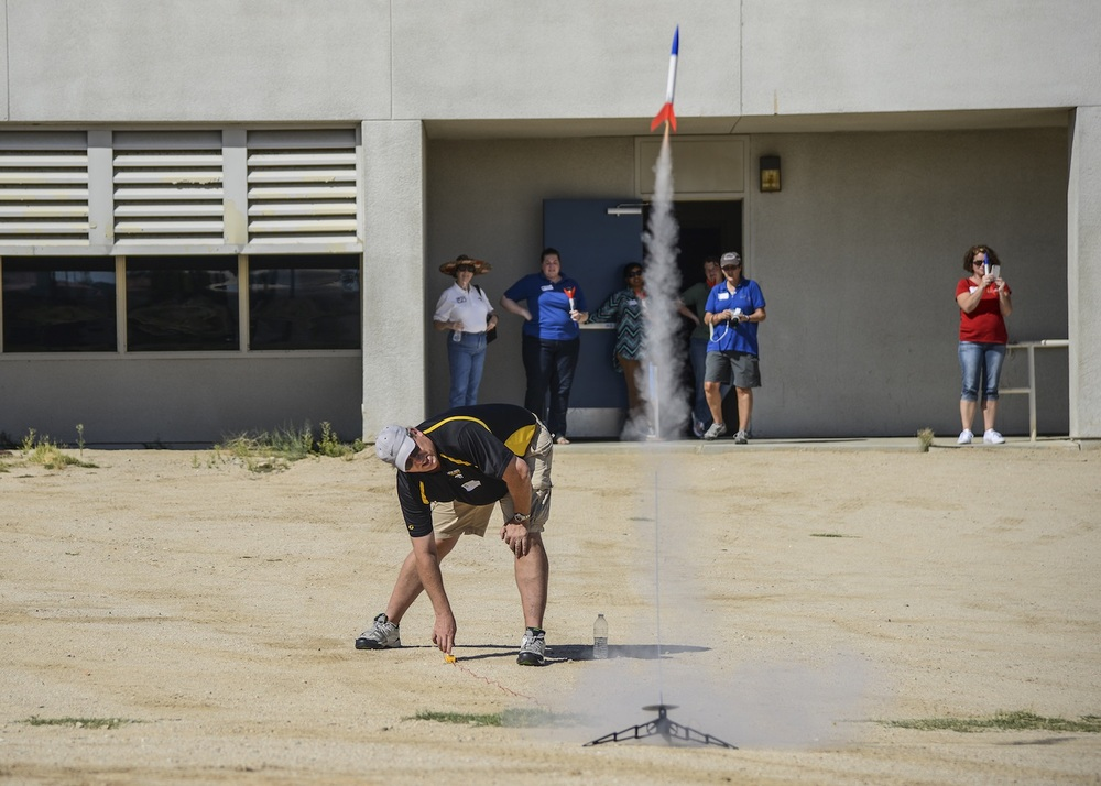 Teachers learned how to build and launch a rocket at Edwards Air Force Base. The day long workshop gave teachers the resources they need to integrate rocketry into their science and math classes.  Credit:  U.S. Air Force photo by Rebecca Amber