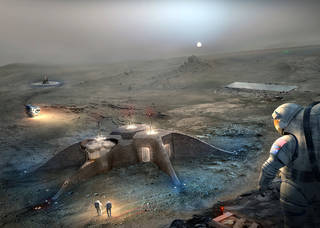Robots share responsibilities for regolith processing, 3D printing, and assembling.  Source: Nasa