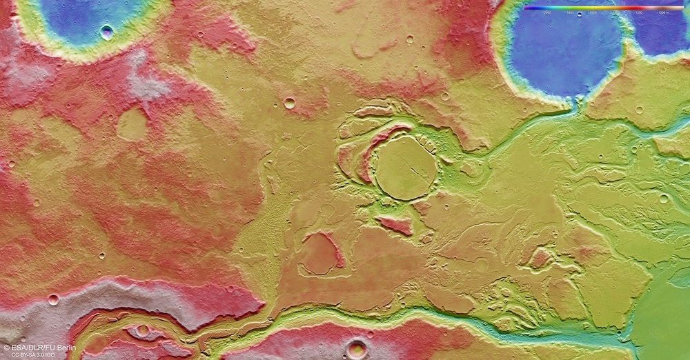 The water-carved channels of Mangales Valle from Esa's Mars Express orbiter. This false-color topographic image shows blue low-lying regions and red highlands. Credit: Esa/DLR/FU Berlin, CC BY-SA 3.0 IGO