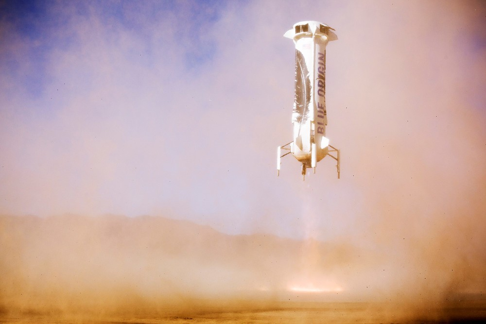 The  New Shepard  sans-capsule lands for the second time.  Credit:  Blue Origin