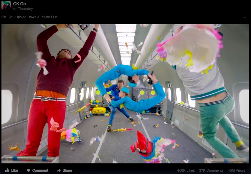 Shot on a Russian zero-g aircraft, OK Go's latest video shows the creative potential of space tourism. Credit: OK Go via Facebook