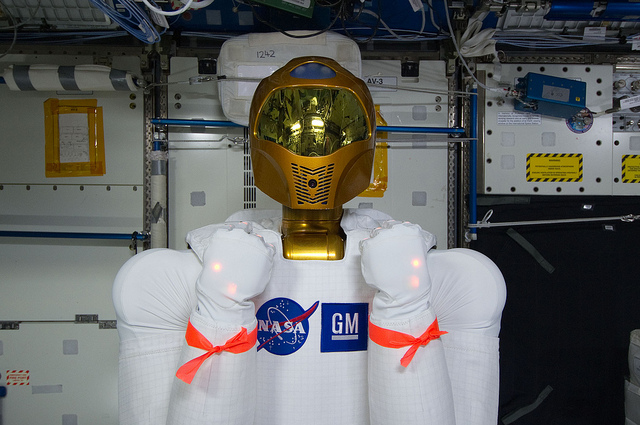 Robonaut2 on its first day on the International Space Station.  Credit: Nasa