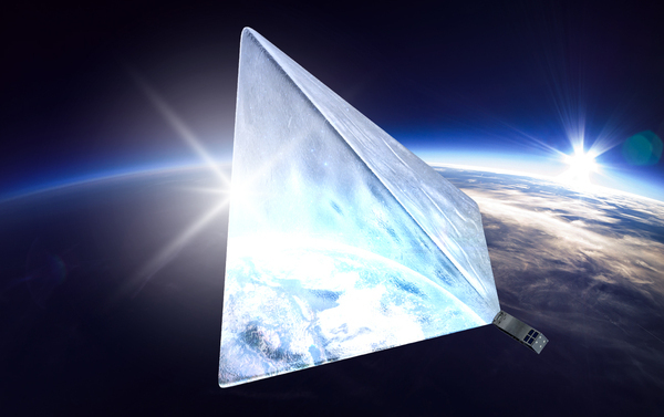 Russian professionals, students, and makers developed the Mayak satellite with the support of Russian crowdfunding. When the Mayak cubesat (the grey box at the lower right) reaches its 600-kilometer orbit, it will deploy a tetrahedral reflector. Sunlight bouncing off Mayak's shiny surface will make it brighter than any star in the night sky. Credit: Mayak Project