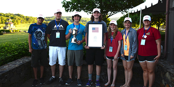 Alabama's championship rocketeers took the national title in 2015 and went on to win the world championships at the International Rocketry Challenge in France.  Credit:  Team America Rocketry Challenge